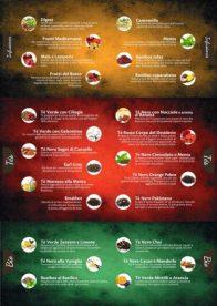 Menù - Lista tè ed Infusi 25 gusti filtri piramidali.